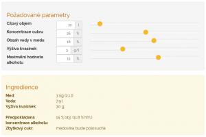 Kalkulátor pro přípravu roztoku medoviny